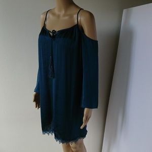 NWT Charlotte Russe Cold Shoulder Teal Dress Sz XS